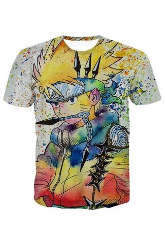 Womens Uzumaki Naruto Printed Short Sleeve Tee Shirt Yellow