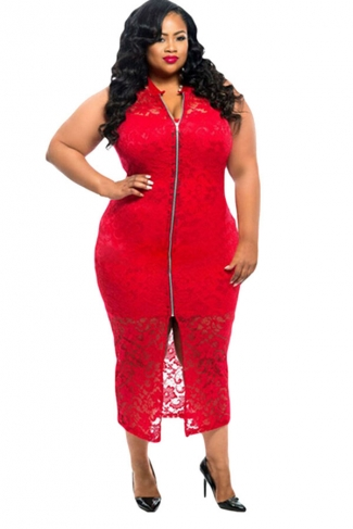 Womens Plus Size Sleeveless Lace Zipper Front Dress Red