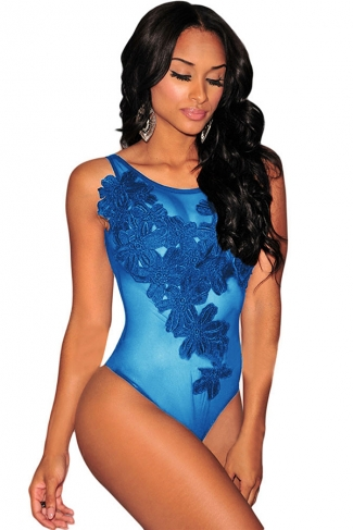 Womens Sexy Floral Embroidered Sheer Mesh Bodysuit Sapphire Blue