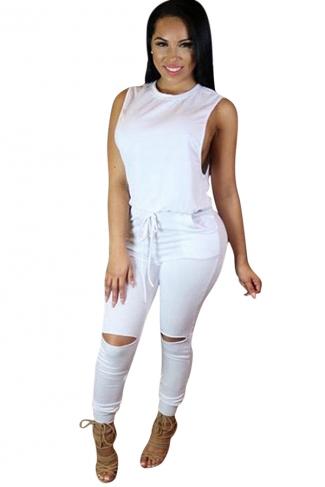 Womens Sleeveless Knee Cutout Drawstring Waist Jumpsuit White