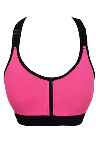 Womens Sexy Color Block Zipper Front Sports Bra Rose Red