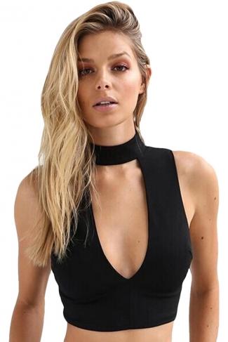 Womens Sexy Plunging Neckline Zipper Back Crop Top Black