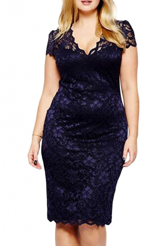 Womens Scalloped V-neck Lace Plus Size Midi Dress Navy Blue