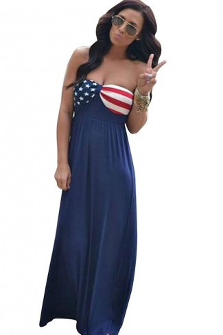 Womens Sexy Stars and Stripes Printed Tube Maxi Dress Navy Blue