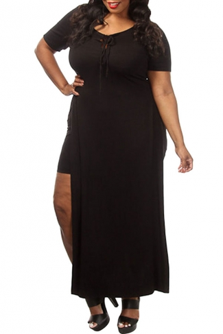 Womens Sexy Plus Size Lace-up Front Slit False 2-piece Dress Black