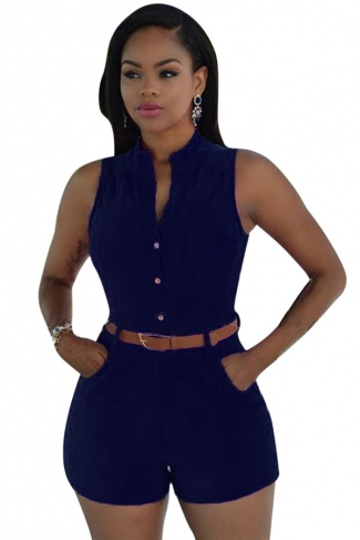 Womens Sexy Single-breasted High Waisted Sleeveless Romper Navy Blue