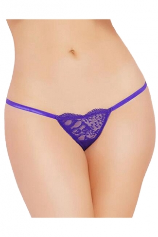 Womens Sexy Lace Heart-shaped G-string Panty Purple