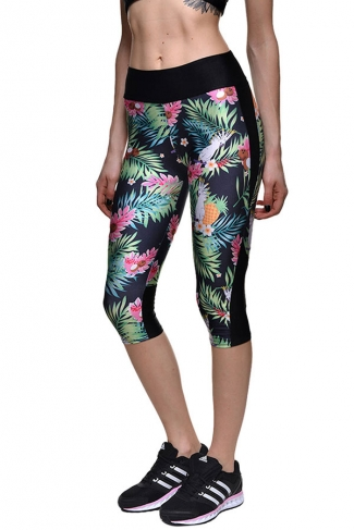 Womens Slimming Floral Printed Cropped Sports Leggings Green