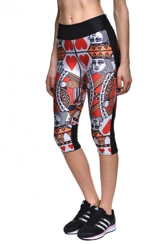 Womens Slimming Poker Printed Cropped Sports Leggings Red