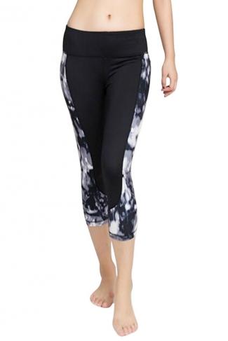 Womens Fashion Flower Printed Running Sports Cropped Leggings Gray