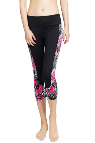 Womens Fashion Flower Printed Running Sports Cropped Leggings Rose Red