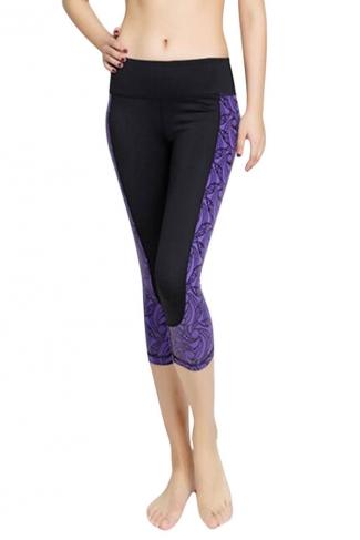 Womens Fashion Flower Printed Running Sports Cropped Leggings Purple