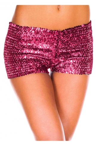 Womens Sexy Sequined Plain Mini Shorts Rose Red