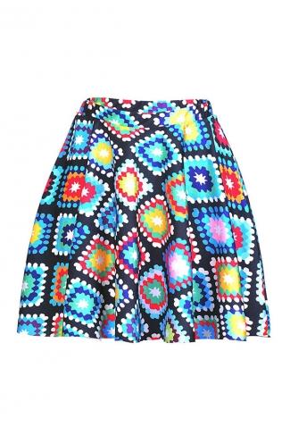 Womens Sexy Geometric Printed Pleated Mini Skirt Yellow