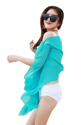 Womens Sexy Plain Single-breasted Beach Sarong Blue