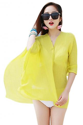 Womens Sexy Plain Single-breasted Beach Sarong Yellow