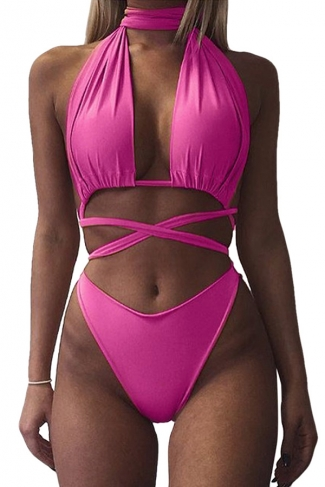 Womens Sexy Halter Cross Bandage Cut Out Plain Monokini Rose Red