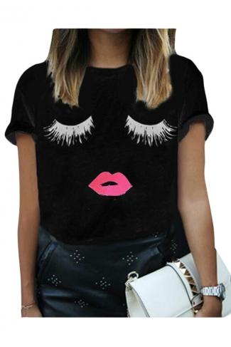 Womens Casual Eyelash and Lip Printed T Shirt Black