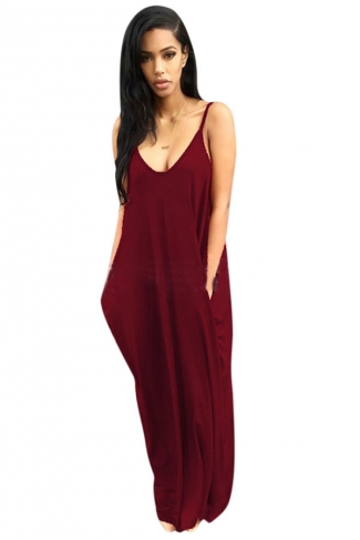 Womens Sexy Loose Spaghetti Straps Plain Maxi Dress Ruby