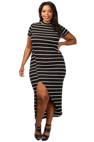 Womens Sexy Plus Size Striped High Slit Dress Black