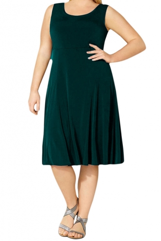 Womens Plus Size Crewneck Sleeveless Midi Dress Dark Green