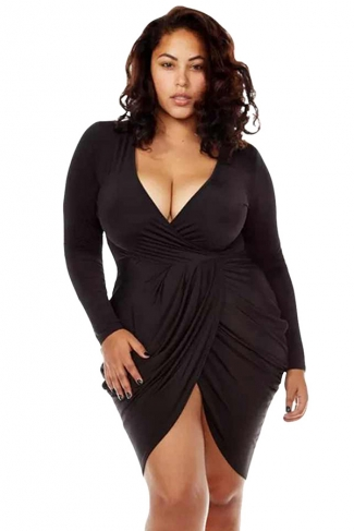 Womens Sexy Deep V Neck Ruched Long Sleeve Plus Size Dress Black