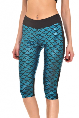 Womens Stylish Fish Scale Printed Cropped Leggings Light Blue