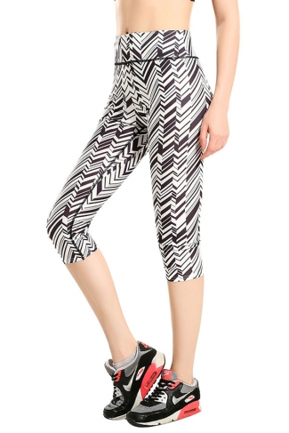 Womens Slimming Oblique Striped Printed Sports Cropped Leggings White