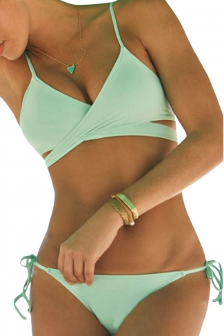 Womens Cross Lace-up Top&Double-string Bottom Bikini Set Light Green