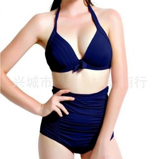 Womens Sexy Halter Top&High Waist Ruched Bottom Bikini Set Navy Blue
