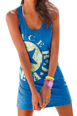 Womens Star Printed Mini Tank Dress Blue