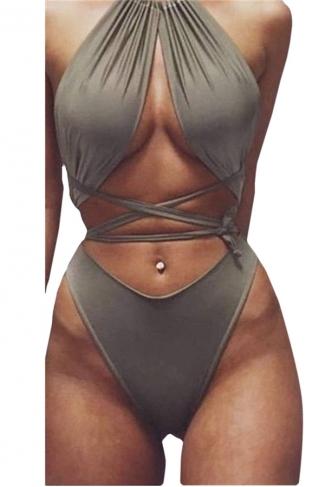 Womens Sexy Lace Up Bandage Bikini Top&Swimsuit Bottom Army Green