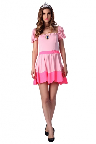 Womens Short Sleeve Princess Halloween Costume Dress Pink