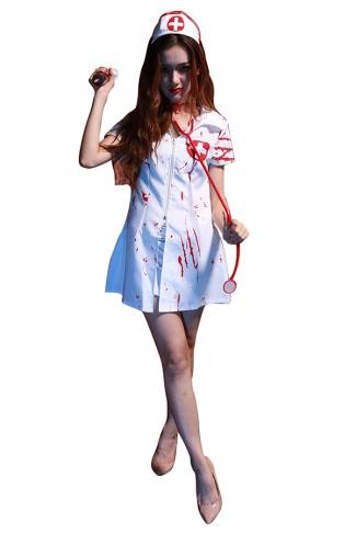 Womens Zipper Detail Halloween Nurse Costume White