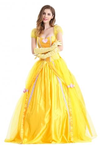 Womens Bow Back Belle Princess Maxi Halloween Costume Yellow