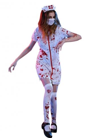 Womens Irregular Halloween Bloody Zombie Nurse Costume White