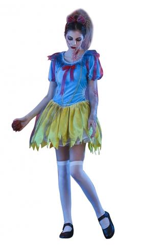 Womens Halloween Snow White Zombie Princess Costume Blue