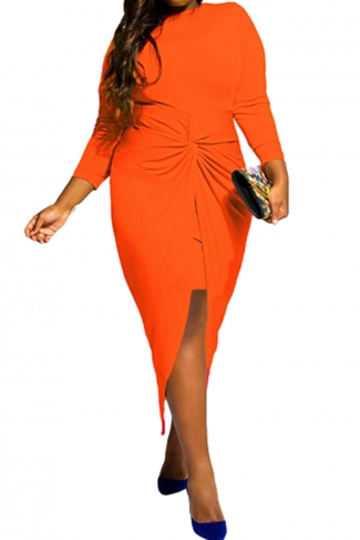 Womens Plus Size Knotted Asymmetric Slit Long Sleeve Dress Orange