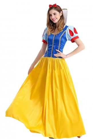 Womens Maxi Snow White Halloween Fairytale Costume Yellow