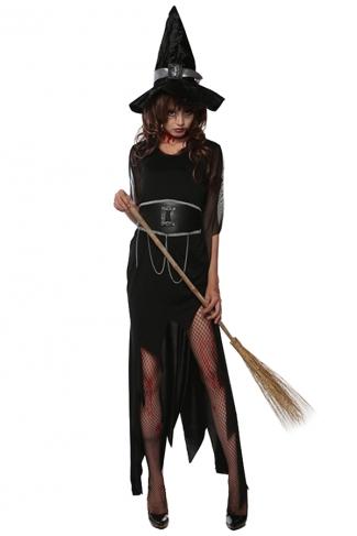 Womens Asymmetric Witch Halloween Costume Black