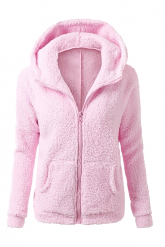 Womens Zip Up Long Sleeve Plain Fleece Jacket Hoodie Pink