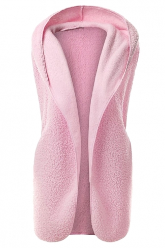 Womens Plain Hooded Warm Sleeveless Vest Pink