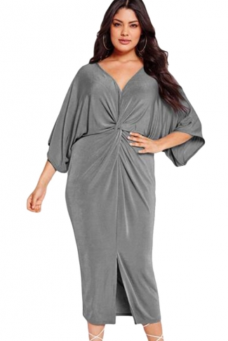 Womens Plus Size Kimono Sleeve Knotted Pleated Front Slit Dress Gray