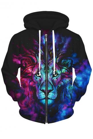 Womens Lion King Printed Zip Up Fleece Drawstring Hoodie Purple