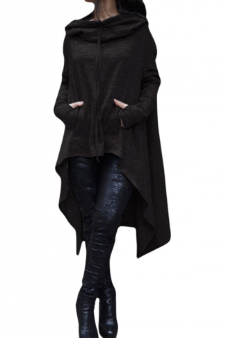 Womens Long Sleeve Asymmetric Hem Drawstring Hoodie Black