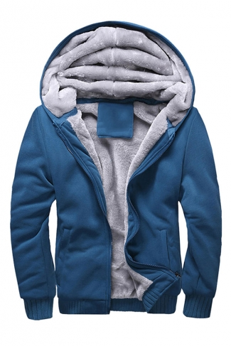Womens Lined Long Sleeve Plain Zip Up Hoodie Blue