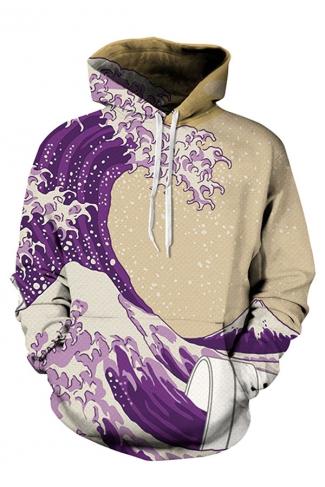 Womens Long Sleeve Sea Printed Pullover Hoodie Purple