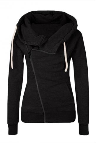 Womens Oblique Side Zipper Long Sleeve Plain Hoodie Black