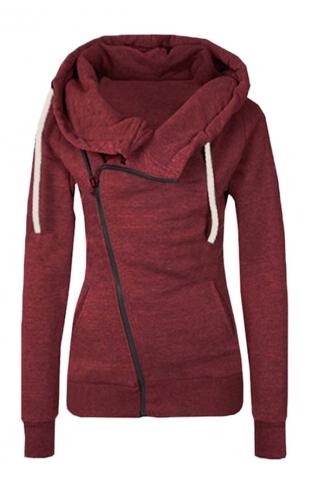 Womens Oblique Side Zipper Long Sleeve Plain Hoodie Ruby