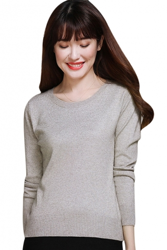 Womens Crewneck Long Sleeve Plain Thin Pullover Sweater Dark Gray